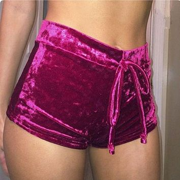 Fashion Trending Sexy Show Thin Dear Velvet Drawstring Shorts Wine red G