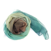 Silk Scarf Hand Painted Ombre Coast  Blue-green Brown