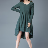 Teal Linen Dress - Feminine Asymmetrical Short Loose-Fitting Plus Size Long Sleeved Spring/Summer Woman's Dress  C804