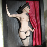 Nudity, 3D wall art, Naked lady, Erotic art picture, Polymer clay, Handmade, Excellent gift, 3D picture, Wall art picture