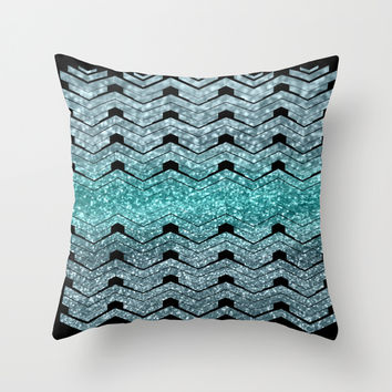 Pattern teal sparkles Throw Pillow by VanessaGF