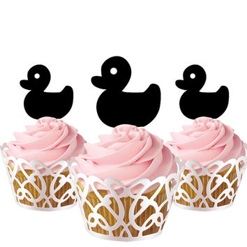 6 pcs in one set little duck CupCake toppers for party decor, animal cupcake toppers acrylic,  topper for birthday, kids birthday cake decor
