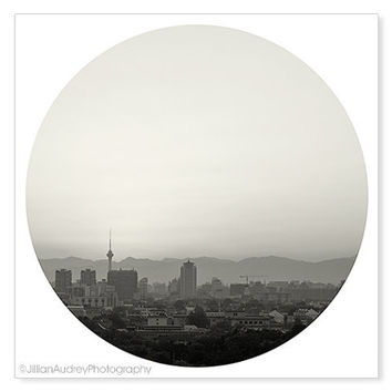 Ombre City Photography - Gray Black and White - Skyline Architecture Photography - Landscape - Zen Wall Art - Fade