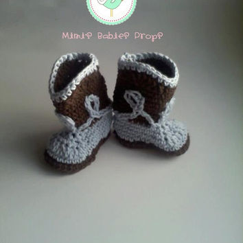 Cowboy Boot Booties for Baby Boy - Crochet in Chocolate Brown and Blue - Newborn - 6 months