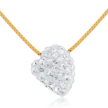 10k Yellow Gold Bonded White Swarvoski Heart Shape Necklace 18inch