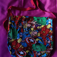 Marvel Avengers print handmade fully lined cotton messenger bag. Spider Man, Iron Man, Wolverine, Thor, The Hulk and Captain America