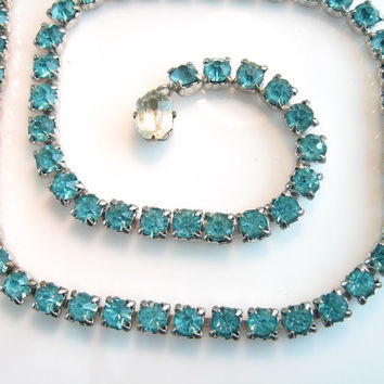 Vintage Rhinestone Necklace/ Aqua SIngle Strand / Turquoise Blue Choker / 1940s Jewelry