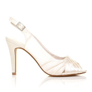 CHLOE Ivory Satin Stiletto High Heel Slingback Bridal Peep Toe Shoes