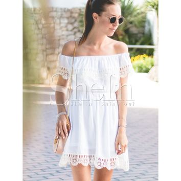 White Off The Shoulder Short Sleeve Fit And Flare Dress