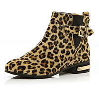 Brown pony hair leopard print chelsea boots - ankle boots - shoes / boots - women