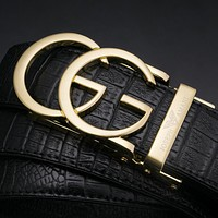 Gucci X Armani Trending Men Smooth Buckle Leather Crocodile Grain Belt+Exquisite Gift Box