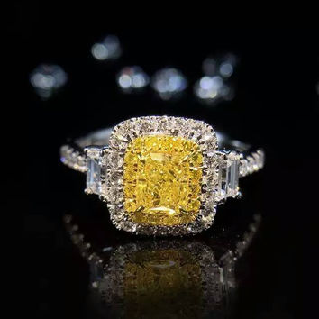Elegant Women 1CT simulate Yellow Diamond Ring Cushion Cut Double Halo 925 Sterling Silver Engagement Wedding Ring