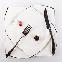 Dishes Plates Silver Inlay Bone China Dessert Bowls Steak Western Cutlery Suit Tableware Household Food Plate