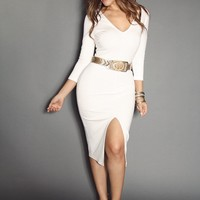 Slimming V-Neckline Quarter Sleeve With Front Open Slit Classy Midi Dress In Ivory