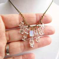 Graduating Clear Glass Cube Dangly Bronze Necklace, Boho Style, Gifts For Her
