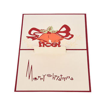 3D Pop Up Holiday Greeting Cards small bell Reindeer Christmas Thanksgiving HU