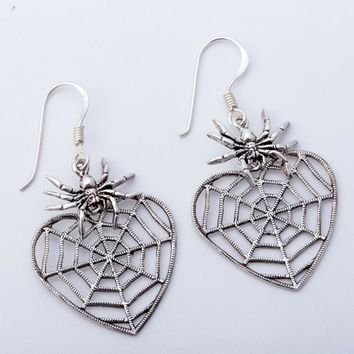 SHIPS FROM USA 925 Sterling Silver Spider Dangle Drop Earrings Halloween Party Jewelry Gifts Decor Women Wife Her Girlfriend Girls