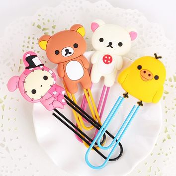 1 Pcs Korea Stationery Kawaii Easily Bear Large Paper Clip Metal Bookmarks Student Office Gifts
