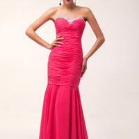 Pink Strapless Beads Fringed Ruched Mermaid Maxi Evening Dress