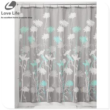 New Stylish flower pattern Waterproof Fabric Bathroom Shower Curtain scenery curtains cortina ducha Bathroom Product