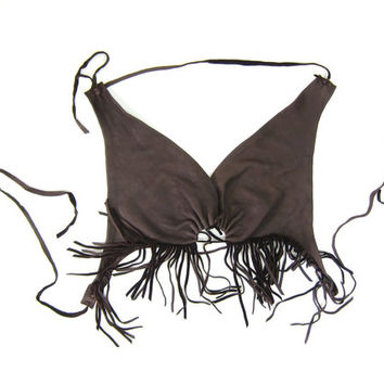 70s Brown Leather Bralette Bohemian Fringed Leather Bra Top Supple Leather Biker Boho Tie Up Tank Top Dells Womens Sexy Bandeau Medium Large