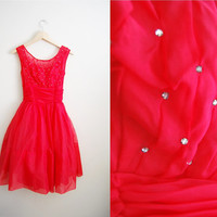 Red Valentine - Vintage 50s Red Tulle Skirt Party Prom Wedding Dress
