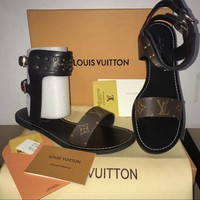 Louis Vuitton】LV One word with flat bottom high boots Black
