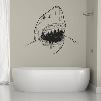 ik1277 Wall Decal Sticker white shark fish sea animal living bedroom bathroom