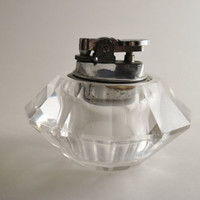 Vintage Cigarette Lighter / Tabletop Lighter / Crysal Lighter / Glass Lighter TREASURY ITEM