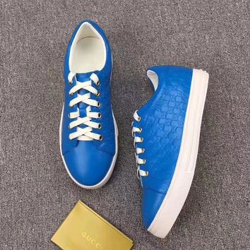 GUCCI Women Trending Fashion Leather Casual Sneakers Sports Shoes blue