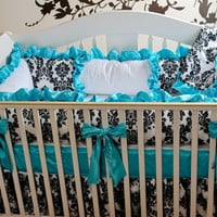 Damask Tiffany Blue Baby Bedding 4 pc set of by BabyCarSeatCovers
