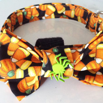 Halloween Candy Corn Bow Tie Collar for Male Dogs and Cats