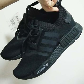 """Adidas"" Women Men Trending NMD Running Sports Shoes Black(black soles)"