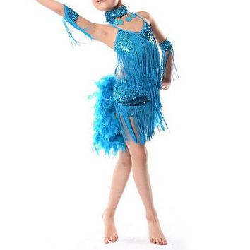 NEW Children Kids Sequin Feather Fringe Stage Performance Competition Ballroom Dance Costume Latin Dance Dress For Girls