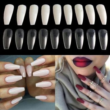 Shellhard 600pcs False Nails High Quality Trendy Long Ballerina Coffin Nails Tips Nail Care 3 Colors