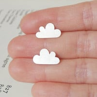 lucky happy cloud earring studs in sterling silver by huiyitan