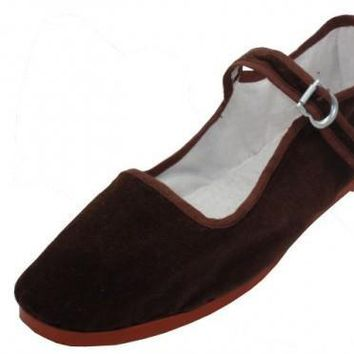 Women's Brown Color Velvet Mary Janes Shoes (36 pairs) - CASE OF 36