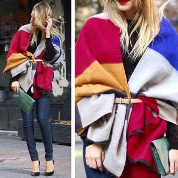 DCCKJG2 Fashion Women Scarf Multicolor Stripe Winter Warm Long Scarf Wool Knitted Neck Scarves Wraps Thicken Shawls Free Shipping