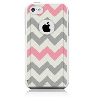 iPhone 5C [Dual Layer] UnnitoTM *1 Year Warranty* Hybrid Case Protective [Custom] Commuter Protection Cover (White - Chevron Grey Pink)