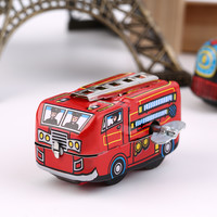 Retro Classic Firefighter Fire Engine Truck Clockwork Wind Up Tin Toys New Hot