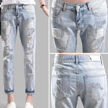 Spring models sequined high waist capris jeans female feet pants harem pants hole womens sexy jeans