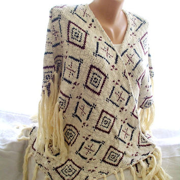 Knit poncho,aztec cape , handmade vest, accessories for women