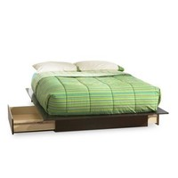 Queen size Modern Platform Bed with 2 Storage Drawers in Chocolate