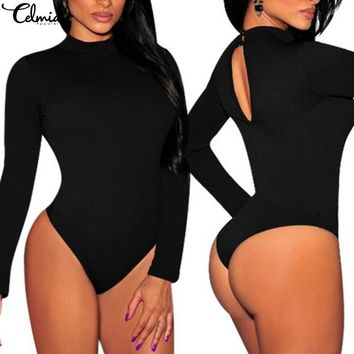 CELMIA Plus Size 2017 Autumn Women Rompers Jumpsuits Sexy Fitness Playsuits Casual Long Sleeve Bodysuits Overalls Pull Femme