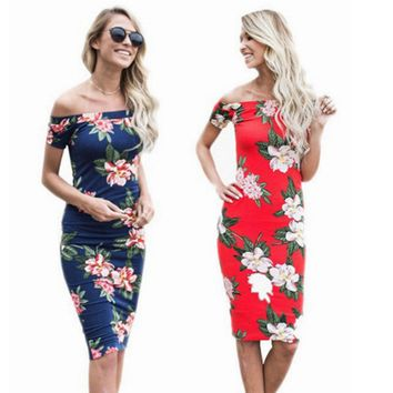 Women's Floral Off Shoulder Bodycon Dress