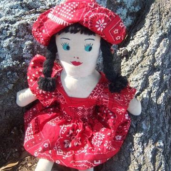 "Vintage 15-1/2"" Handmade Cloth Doll 1960  Online Vintage, vintage clothing, home accents, vintage dress"