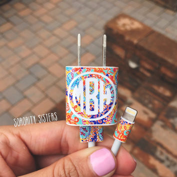 Lilly Pulitzer Inspired Monogram iPhone 5 [or higher] charger decal • Lilly Pulitzer Phone Sticker • DIY Lilly Pulitzer Sticker