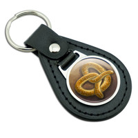 German Soft Pretzel Black Leather Keychain