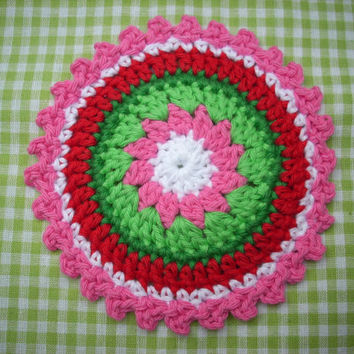 christmas crochet  coasters large crochet applique red green pink white set of 4