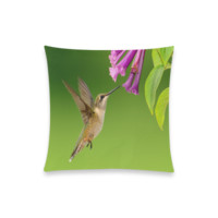 "Hummingbird Delight New Pillow Case Pillow Inner Included 20""x20""(Two sides) 